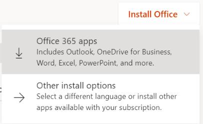 Install office 365 apps screenshot