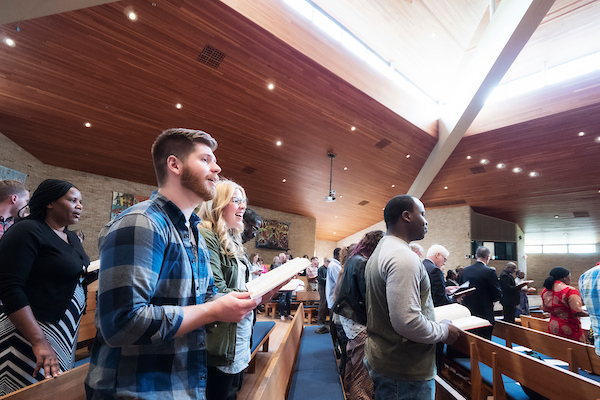 Students in chapel service
